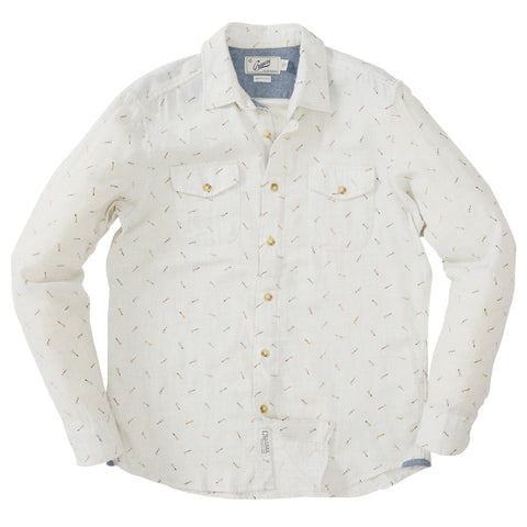 Throwing Axe Print Twill Shirt - Oatmeal Heather Print
