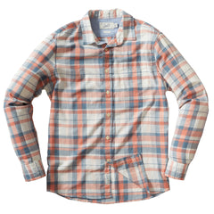 Guildford Pigment Yarn Dyed Plaid Long Sleeve Shirt - Salmon Blue Plaid