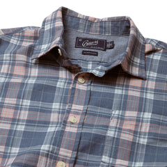 Dunbridge Pigment Yarn Dyed Herringbone Plaid Long Sleeve Shirt - Blue Coral