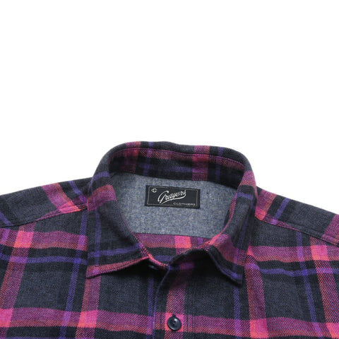 Leighton 3-Ply Jaspe Luxury Flannel - Charcoal Lavender Black