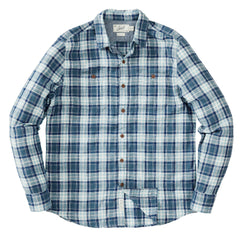 Winfield Slub Herringbone Twill Shirt - Navy Cream Plaid