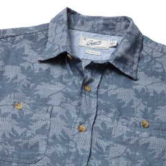 Morrison Printed Slub Twill Long Sleeve Shirt - Blue Chambray Camo Leaf Print