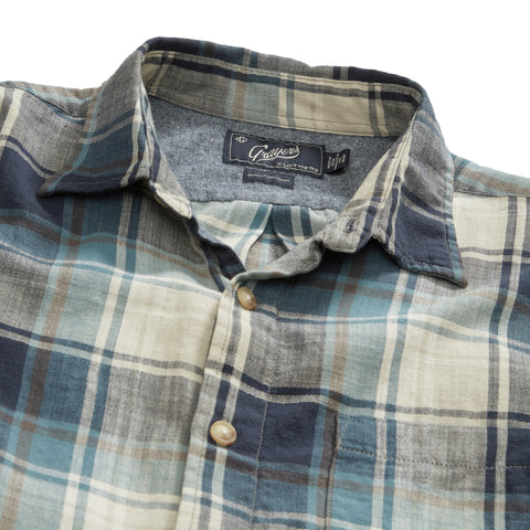 Winfield Slub Herringbone Twill Shirt - Navy Blue Plaid