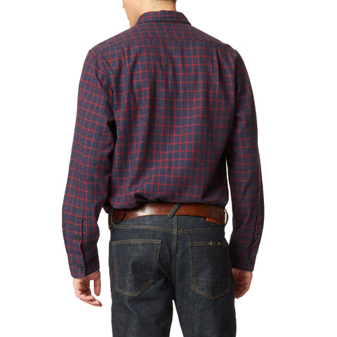 Country Flannel Shirt - Heather Navy Red Windowpane