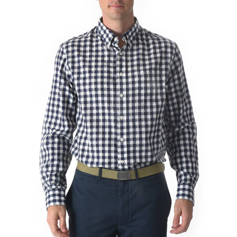 Grange Shadow Gingham Shirt - Navy Cream-Grayers