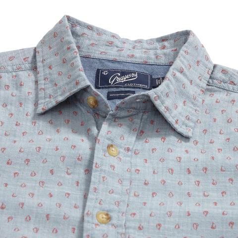 Falling Pear Print Short Sleeve Shirt - Blue Orange Pear Print