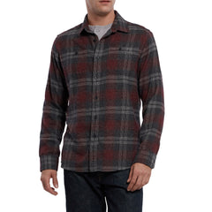 Marston 3 Ply Jaspe Luxury Flannel - Charcoal Burgundy-Grayers