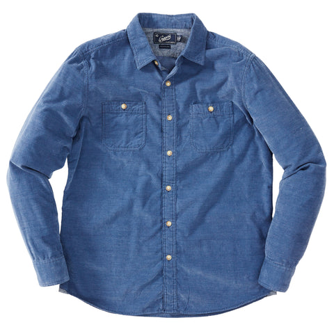 Hayes Brushed Cordies Shirt - Ensign Blue