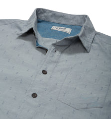 Osborne Anchor Dobby Long Sleeve Shirt - Blue Mirage-Grayers