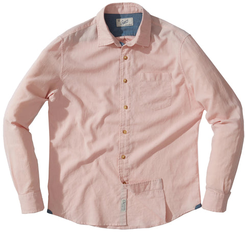 Osborne Anchor Dobby Long Sleeve Shirt - Coral Blush