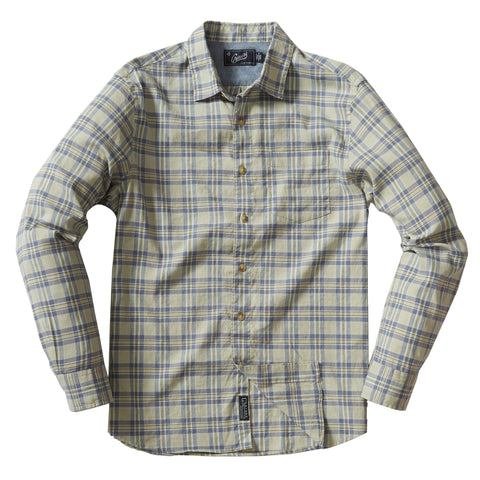 Wookey Linen Cotton Stretch Long Sleeve Shirt -Olive Drab Blue Plaid