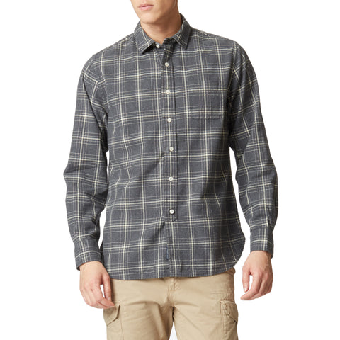 Brushed Oxford Shirt - Gray Heather Cream Plaid