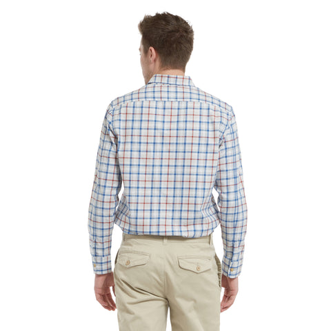 Avera Stretch Twill Shirt - Gray / Bright Cobalt