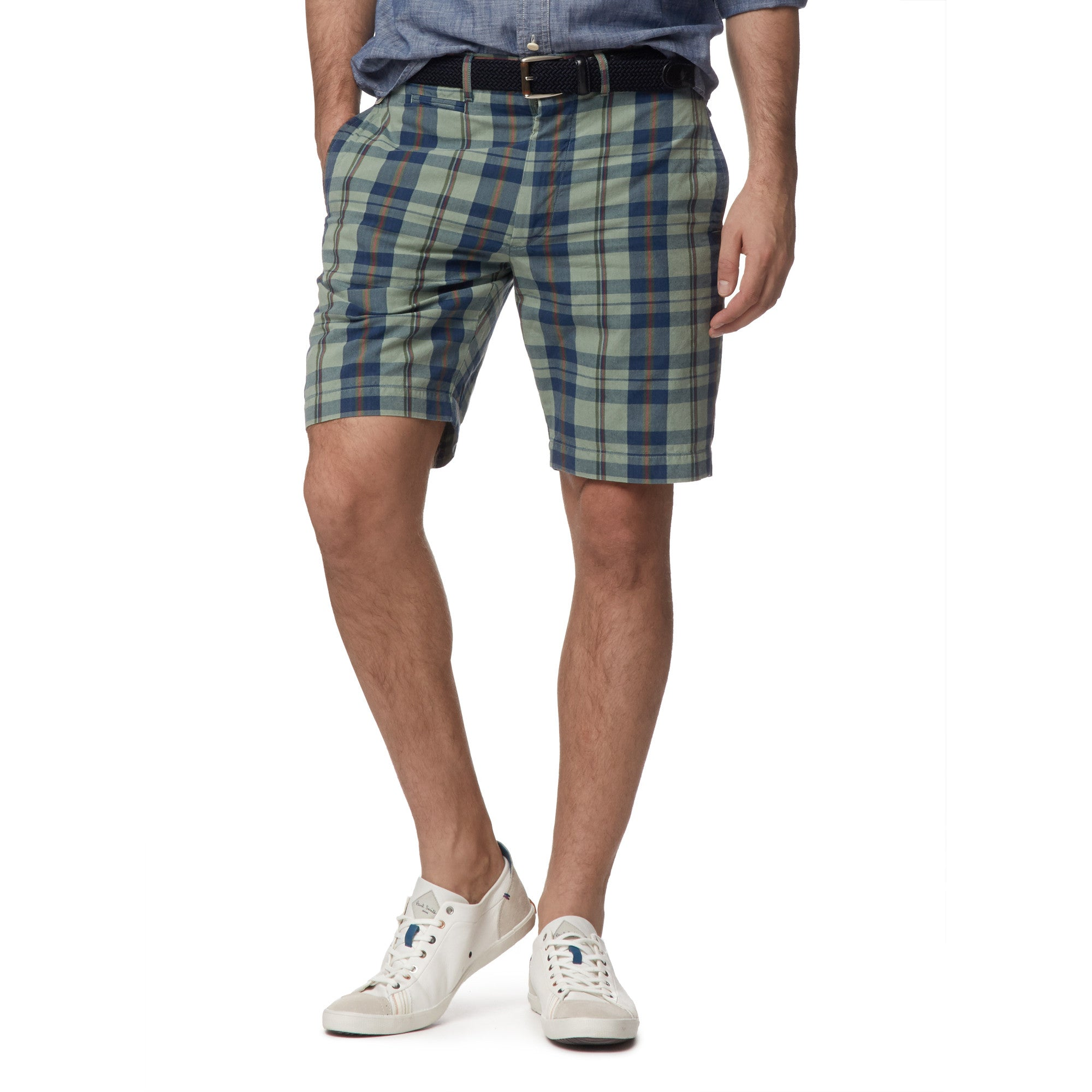"9"" Newport Madras Short - Green Navy"