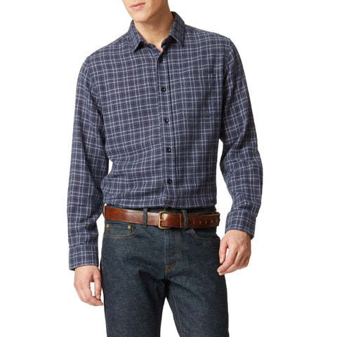 Trenton Double Cloth Shirt - Blue Heather Plaid-Grayers
