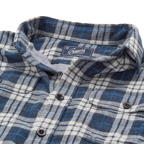 Double Cloth Shirt - Gray Blue Heather Herringbone Plaid