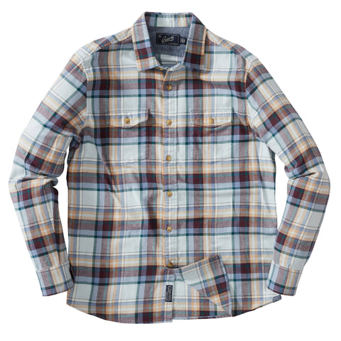 Jasper Stretch Flannel Shirt - Khaki Brown Blue