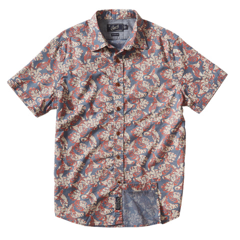 Floral Printed Light Weight Gauze Short Sleeve Shirt - Faded Navy Red Cream