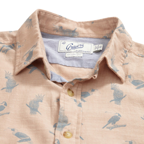 Toucan Printed Slub Twill Short Sleeve Shirt - Almondine Print