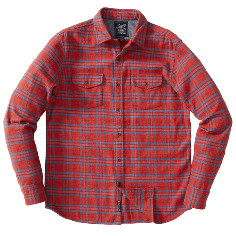Jasper Stretch Flannel Shirt - Cream Navy Red