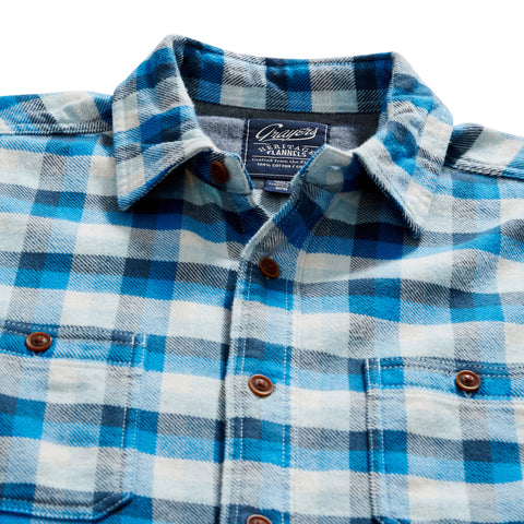 Gingham Heritage Flannel Shirt - Navy Blue Gray