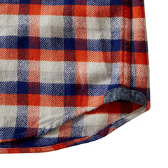 Gingham Heritage Flannel Shirt - Navy Orange Gray