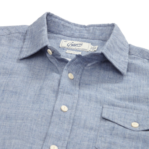 Chambray Double Cloth Shirt - Heather Blue Sky