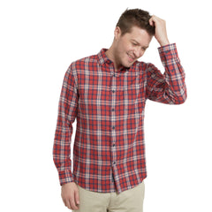Winslow Slim Slub Twill Shirt - Red