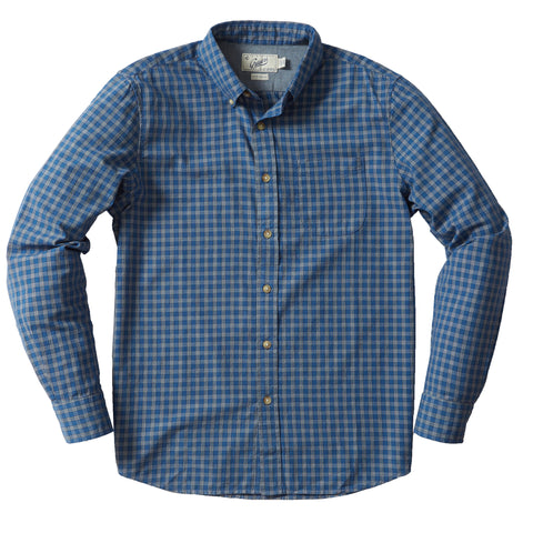 Malcolm Indigo Check Long Sleeve Shirt - Mood Indigo China Blue-Grayers