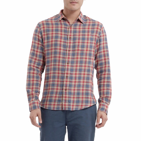 Firestone Power Loom Twill Long Sleeve Shirt - Garnet Rose Humus-Grayers