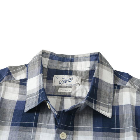 Odin Summer Weight Poplin Short Sleeve Shirt - Navy Blue Cream Plaid