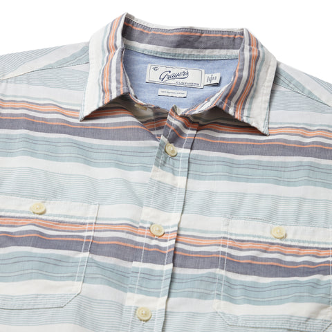 Charleston Horizontal Dobby Stripe Short Sleeve Shirt - Blue Surf Navy Orange