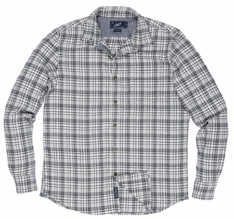 Clyde Brushed Oxford Shirt - Charcoal Navy Green