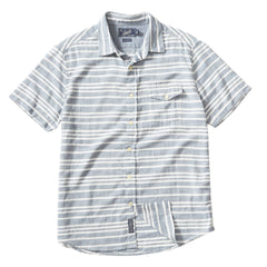 Trevor Horizontal Slub Twill Short Sleeve Shirt - Navy Cream