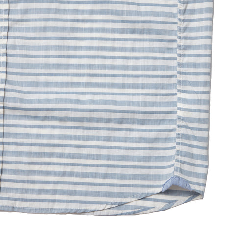Landford Textured Horizontal Stripe Short Sleeve Shirt - Blue Cream