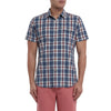 Collins Heather Poplin Short Sleeve Shirt - Blue White Red-Grayers