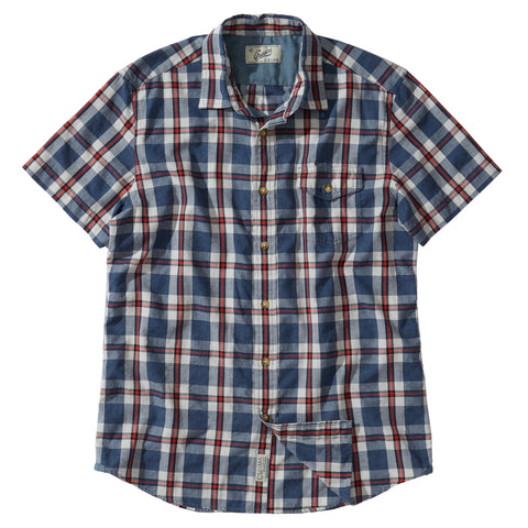 Collins Heather Poplin Short Sleeve Shirt - Blue White Red