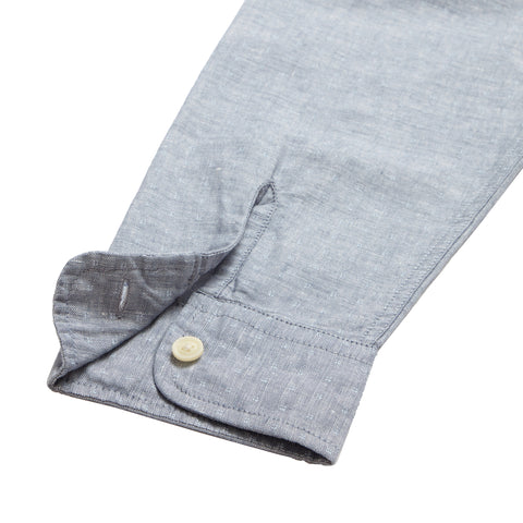 Wainscott Linen Cotton Print Long Sleeve Shirt - Blue Chambray