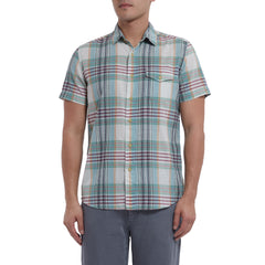 Livingstone's Classic Madras Plaid Short Sleeve Shirt - Lunar Rock Blue Tan-Grayers