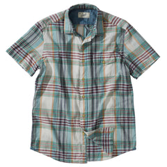 Livingstone's  Classic Madras Plaid Short Sleeve Shirt - Lunar Rock Blue Tan
