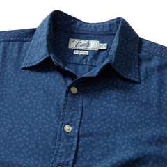 Goulden Printed Slub Herringbone Short Sleeve Shirt - Blue Indigo