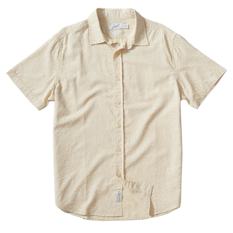 Goulden Printed Slub Herringbone Short Sleeve Shirt - Faded Yellow Cream Floral Print