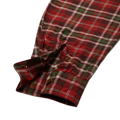 Saratoga Light Weight Herringbone Shirt - Garnet Green Plaid