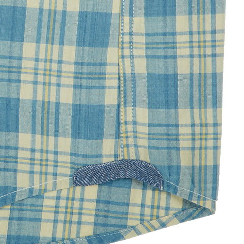 Cresskill Indigo Slub Poplin Plaid - Blue Cream Plaid-Grayers