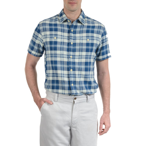 Dumont Indigo Twill Plaid Short Sleeve - Navy Cream Plaid-Grayers
