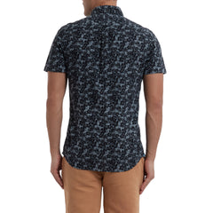Navy Floral Printed Chambray Short Sleeve Shirt - Navy Floral-Grayers