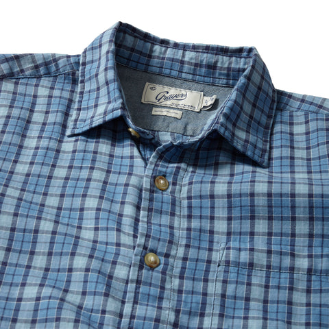 Benton Slub Twill Long Sleeve Shirt - Navy Blue Plaid-Grayers