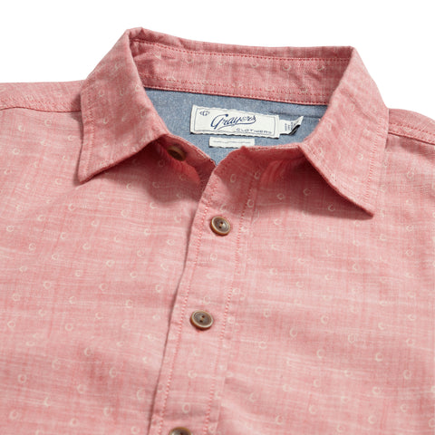 Falling Oval Print Short Sleeve Shirt - Cranberry White Oval Print
