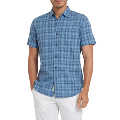 Austin Slub Poplin - Blue Navy Plaid