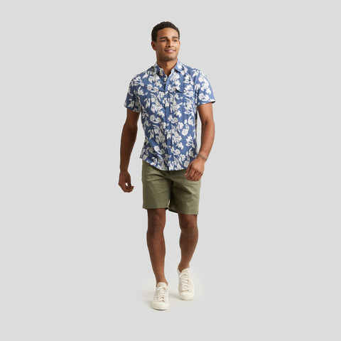 Hawaiian Floral Linen Short Sleeve Shirt - Infinity Blue Floral